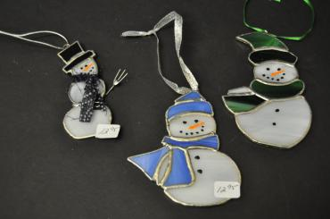 Stained Glass Snowman Ornament