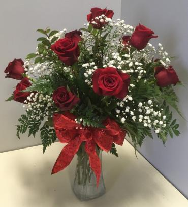 A Dozen Red Roses with Babies Breath