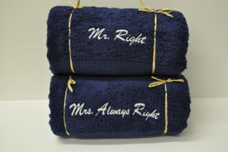 Set of Mr & Mrs Right Bath Towels