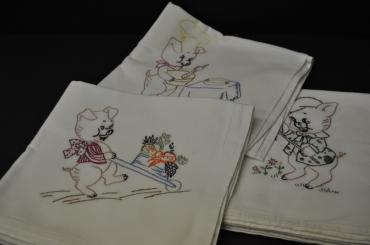 Embroidered Dish Towels- set of 7